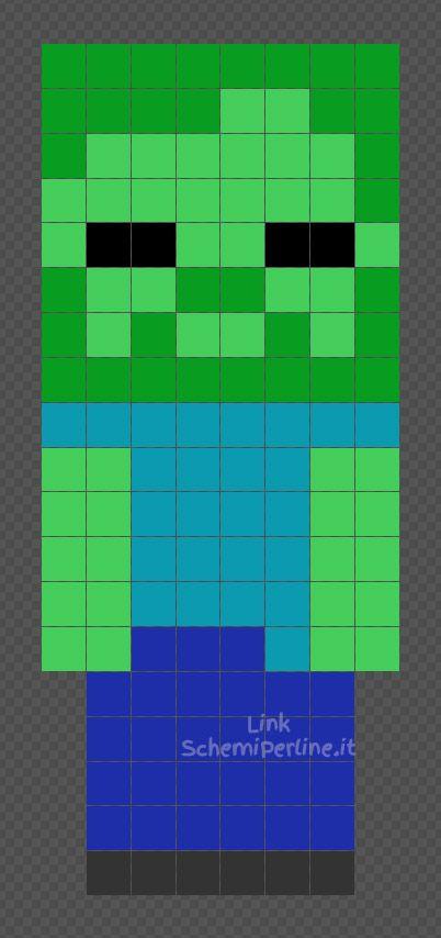 Lo Zombi Di Minecraft Schema Perline Da Stiro Hama Beads 8x19 Schemiperline It Hama Beads Minecraft Perline Da Stirare