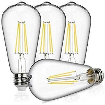 Ascher E26 Led Light Bulbs 6w Equivalent 60w 800lm White 5000k St58 Edison Bulb Vintage Filament Clear In 2020 Led Light Bulbs Edison Bulb Filament Bulb Lighting