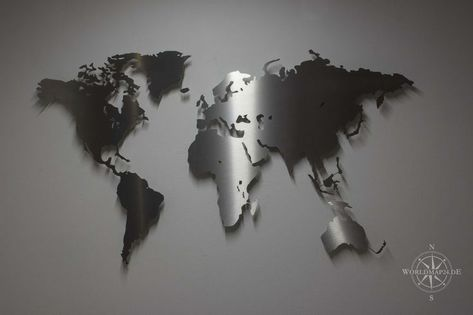 magnetisch Weltkarte Edelstahl M  Wanddeko Design Wandbild