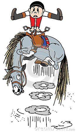 Cartoon Horse Throws Off A Rider Little Boy Rider On A Bucking Pony Horseback Funny Equestrian Sport Vector Illustration Horse Riding School Cartoon People