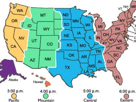 Click On Map To Learn About Best Times To Call In USA With All - Map Of Timezones In Us