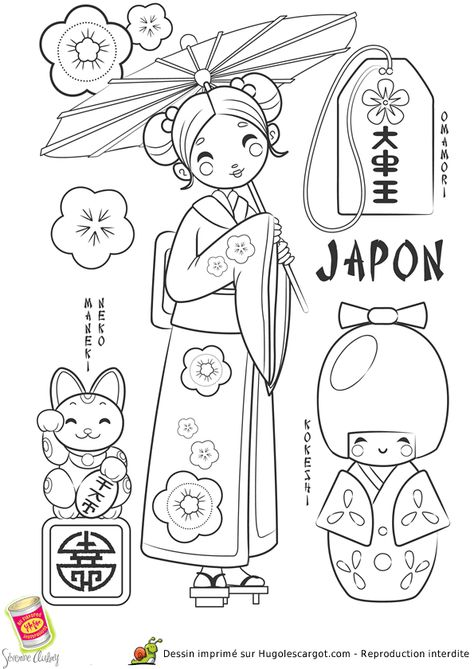 Coloriage Japon, page 8 sur 43 sur HugoLescargot.com