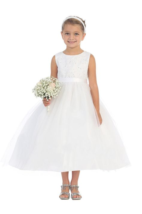 aac9486d72ecf White Sleeveless Lace Bodice Flower Girl Dress with Overlay Tulle Skirt