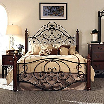 Amazon Com Queen Size Antique Style Wood Metal Wrought Iron Look Rustic Victorian Vintage Bed Fra Wrought Iron Bed Frames Iron Bed Frame Queen Size Bed Frames