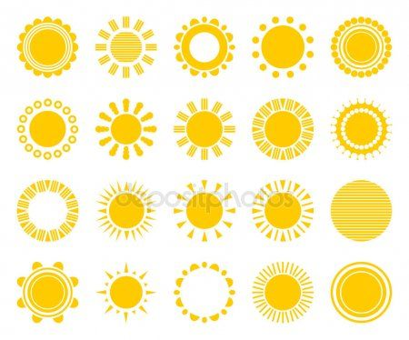 icones de soleil vectorielles isoles