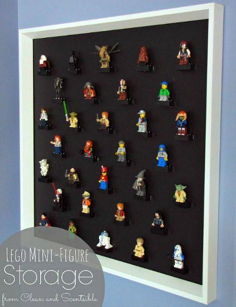 DIY Lego Mini-Figure Display for Jack's room http://www.hometalk.com/4074163/lego-display-diy-picture-frame