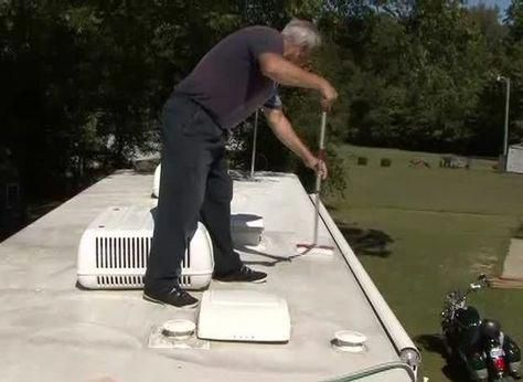 Cleaning Protecting Your Rv Roof Rvvacationideas Remodeled Campers Rv Camping Camper Maintenance