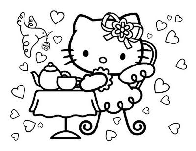 gangster hello kitty coloring pages - Princess Tea Party Coloring Pages