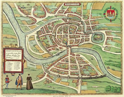 Old map of Bristol from 1610 by John Speed St Mary Redcliffe can be