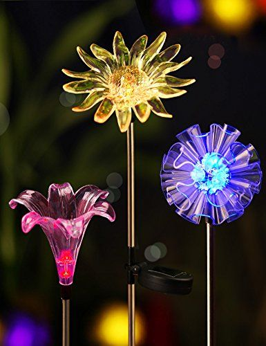 Bright Zeal Bz3 Set Of 3 Led Color Changing Solar Stake Lights Outdoor Solar Light Led Garden Decor Statues Dandelion Lily Sunflower Patio Lights Led Solar Lights Garden