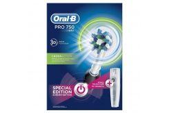 Oralb Pro 750 Cross Action 3d Black Special Edition ηλεκτρική οδοντόβουρτσα δώρο θήκη ταξιδιού μαύρο χρώμα 1 τεμάχιο Oral B Oral Toothpaste