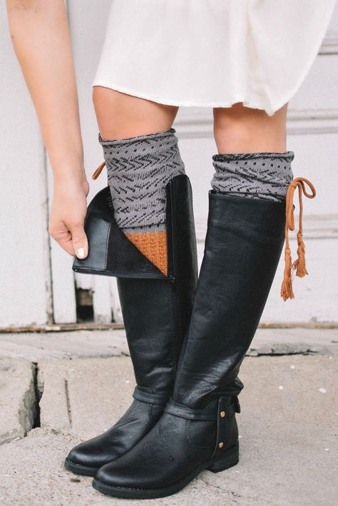 Estes Park Rust & Charcoal Knee-High Boot Socks with Tassel (*NEW*)