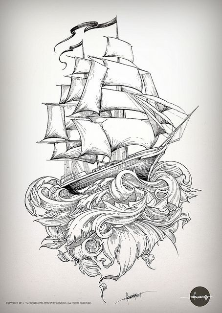 Old school shipping by mofdesign, via Flickr - see more at http://www.mofdesign.com #illustration #art #ship #sailing #ink #drawing