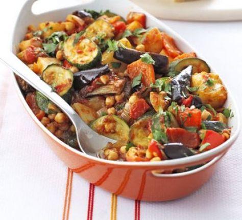 Roast summer vegetables & chickpeas stew