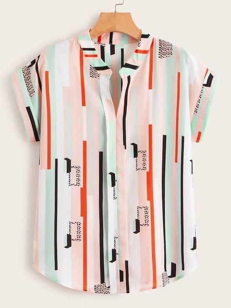 V-neck Multi-Stripe Rolled Cuff Blouse