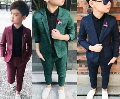Kids Boys Suit Check Waistcoat Formal Suits Prom Wedding Suits Party Outfit New