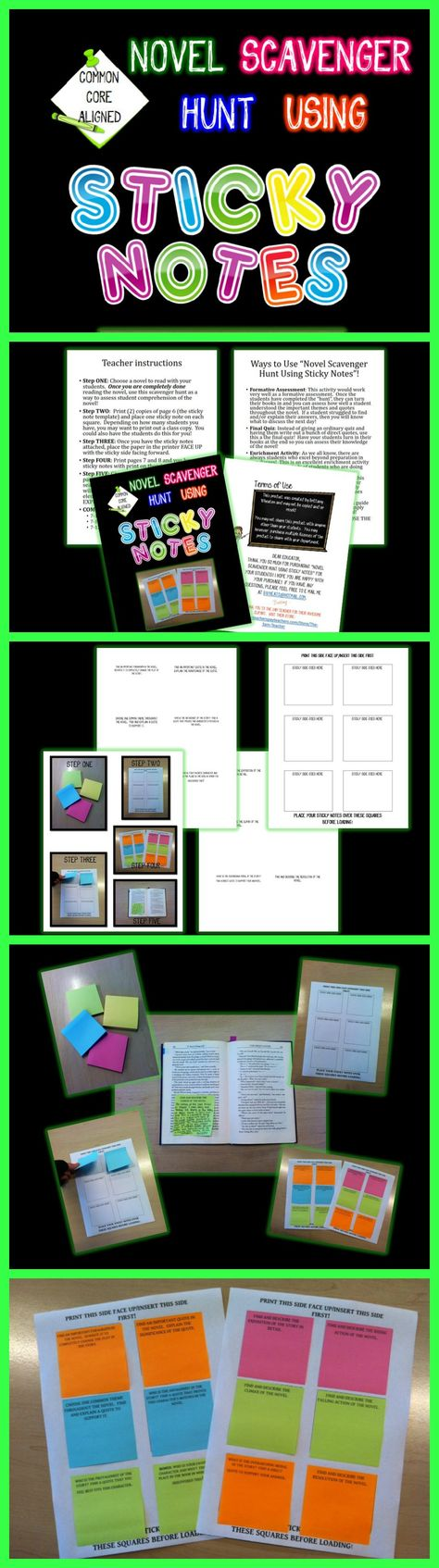 Make learning fun and engaging by sending your students on a novel scavenger hunt using sticky notes with printed questions on them!  $