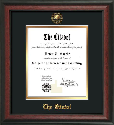 The Citadel Diploma Frame Rosewood Citadel Seal Black On Gold Professional Framing Company Diploma Frame Frame Unique Graduation Gifts