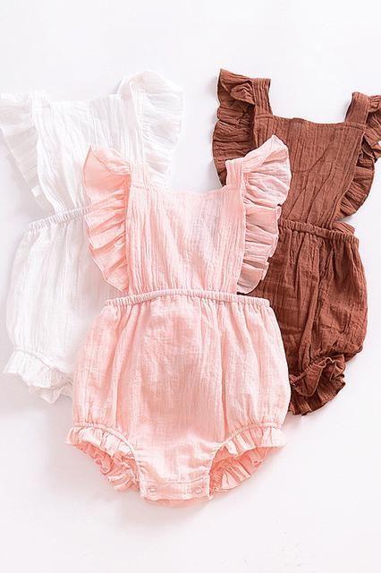 Baby Girls Summer Linen Ruffle Romper Baby Girl Outfits Newborn Baby Girl Ruffle Romper Girls Rompers