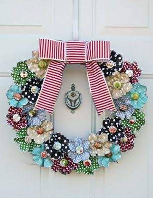 Paper flower wreath -- just noticing that since I took my 4th of July star down, and it's too early for the fall wreath that my door looks sad.  This is perfect!