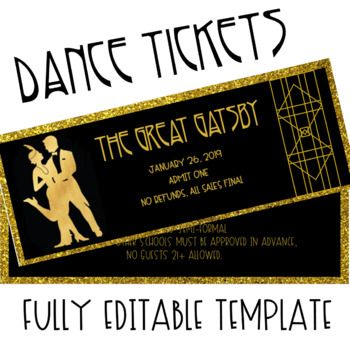 The Great Gatsby Dance Ticket Template Prom Tickets Great