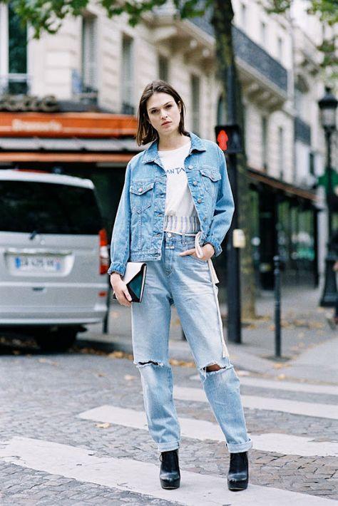 on denim jeans Vanessa Jackman: Paris Fashion Week SS Roland Mouret