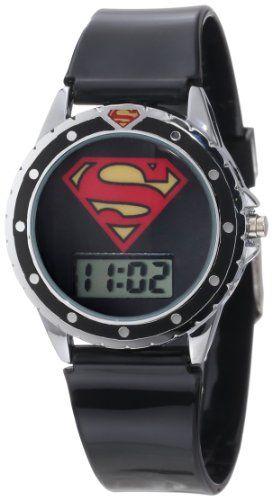 Superman Kids' SUP4019 Black Silicone Superman Logo Strap