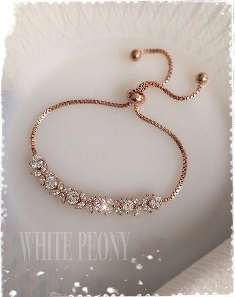 Rose Gold Vintage Style Art Deco Crystal Adjustable Bracelet-AAA Cubic Zirconia Gatsby Downton Abbey Old Hollywood Dainty Bracelet-