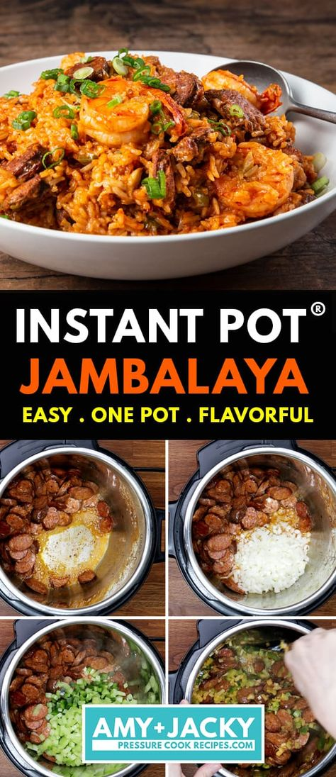 Learn how to cook Instant Pot Jambalya (Pressure Cooker Jambalaya)! This delicious Chicken and Sausage Jambalaya is an incredible flavor-party in your mouth. Comforting, satisfying, family-friendly one pot meal. Jambalaya Recipe Instant Pot, Best Instant Pot Recipe, Instant Recipes, Instant Pot Dinner Recipes, Jambalaya Recipe Pressure Cooker, Easy Pressure Cooker Recipes, Pressure Cooker Chicken, Chicken And Sausage Jambalaya, Keto