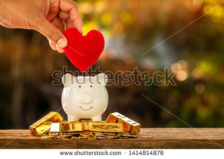 Stock Photo Women Hand Holding A Red Heart With Submit To Piggy Bank Put On The Gold Bar And Coin On Sunlight In The Public Personal Loans Piggy Bank Concept