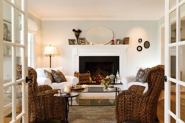 Mixing wicker with white slipcovered furniture - traditional ...