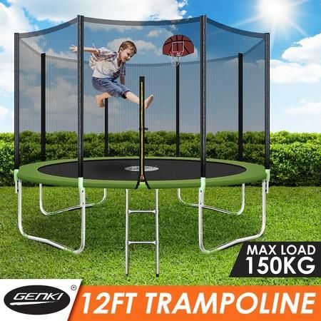 Genki 12ft Round Kids Trampoline Set With Safety Enclosure Net Basketball Hoop Ladder Basketball Hoop Trampoline Basketball Adjustable Basketball Hoop