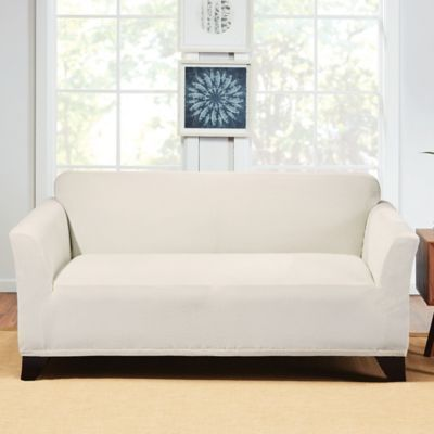 Phenomenal Sure Fit Hudson Stretch Loveseat Slipcover In Cream Squirreltailoven Fun Painted Chair Ideas Images Squirreltailovenorg
