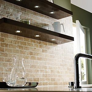 ThisWickes Tumbled Travertine Brick Mosaic Tile 305 x 305mm gives the kitchen an industrial and modern style.
