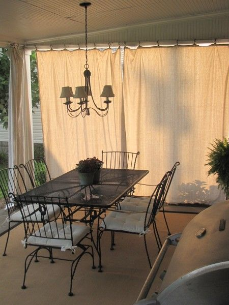 Drop cloth curtains for outdoor space