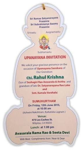 Upanayanam Invitation Card Sample Image Result For Upanayanam Cards With Images In 2020 Invitation Card Sample Christmas Invitations Template Invitation Cards
