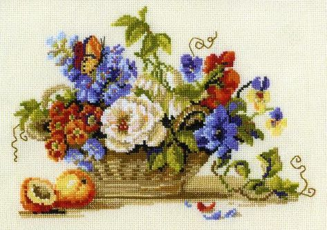 Basket with flowers Free Cross Stitch Pattern