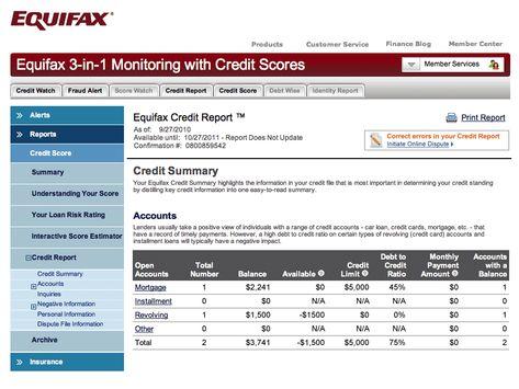 Equifax Credit: Sample Equifax Credit Bureau Report - credit