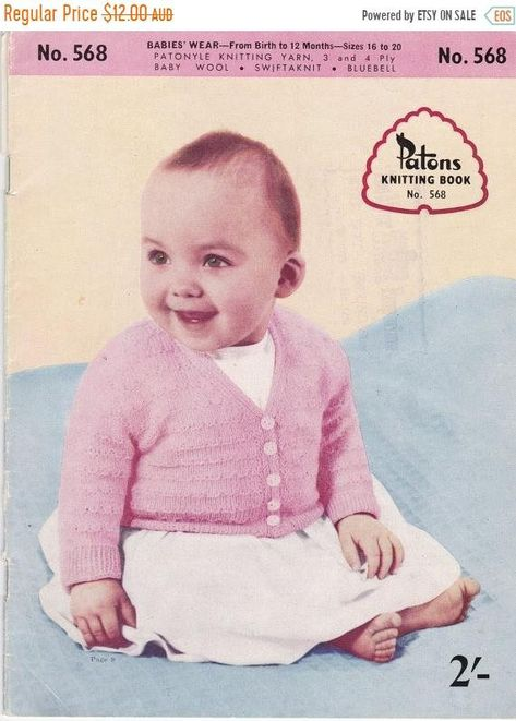 "PATONS 4948 Baby Veste à Capuche Cardigan 4ply DK 16-22/"" VINTAGE KNITTING PATTERN"