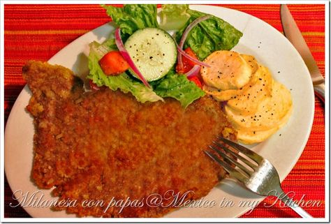 Milanesa. Has been an all time fav at our family's home, but it was a 1st time for my husband and he loved it with a little mustard on top. Yummy!