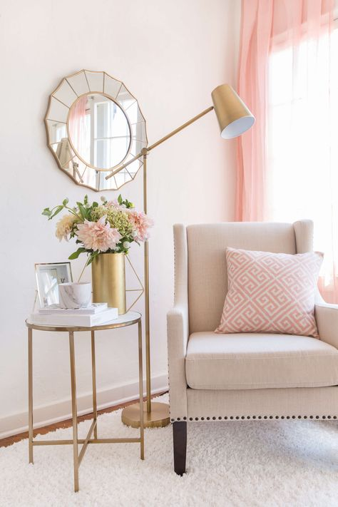 emily-henderson_target_find-your-style_vignette_lux-and-glam_refined_upscale_con … - Best Home Decoration Deco Rose, Glam Room, Bedroom Decor Glam, Lux Bedroom, Trendy Bedroom, Paris Bedroom, Bedroom Neutral, Bedroom Corner, Pink Home Decor
