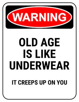 Birth Day QUOTATION Image : Quotes about Birthday Description funny safety sign warning old age creeps up like underwear Sharing is Caring Hey can you Share this Quote ! Funny 50th Birthday Quotes, 50th Birthday Gag Gifts, 90th Birthday Parties, Happy Birthday Greetings, Birthday Messages, Birthday Jokes, Birthday Congratulations, Birthday Ideas, Birthday Pictures