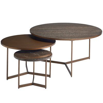 Brayden Studio Spinks Coffee Table With 2 Nested Stools In 2020 Furniture Coffee Table Design Table