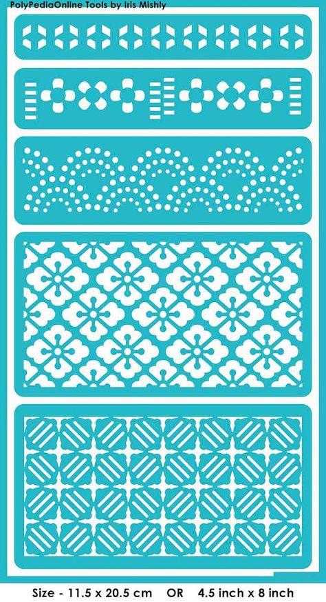 Modèles de pochoirs pochoir « Symétrique Patterns », auto-adhésif, souple, pour la pâte polymère, tissu, bois, verre, fabrication de cartes