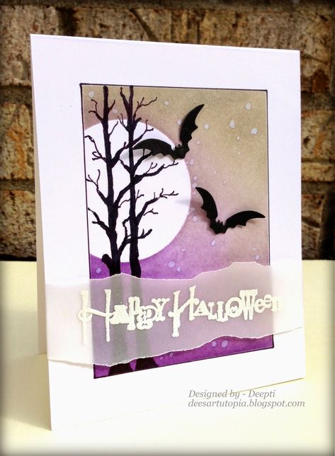 handmade Halloween card ... gorgeous purple and brwon sponged sky with water drop texture ... black trees and punched bats ... torn edges on vellum belly band with white embossed sentiment ...