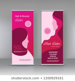 Vector Beauty Salon Stand Banner Design Template Flyer Poster Cover Hair And Beauty With Women Illustrati Standing Banner Design Banner Design Beauty Salon