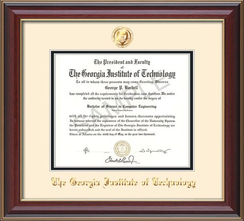Georgia Tech Diploma Frame - Rosewood w/Gold Lip - w/Embossed Seal ...