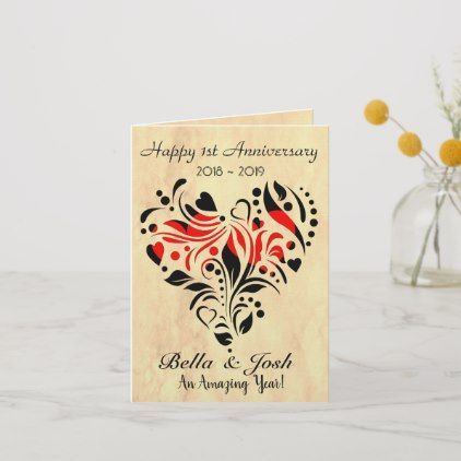 Custom Personalised Paper Wedding 1st Anniversary Card Zazzle Com 1st Anniversary Cards Anniversary Cards For Husband Wedding Anniversary Greeting Cards