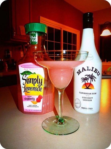 Drinking this right now :) Malibu & Simply Raspberry Lemonade on the rocks> YUMMMY