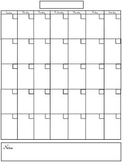 Free Blank Monthly Calendar Template  Printables